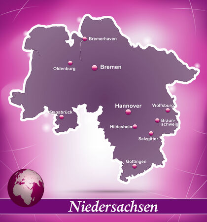 bremen: Map of Lower Saxony with abstract background in violet Illustration