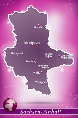 lasting: Map of Saxony-Anhalt with abstract background in violet