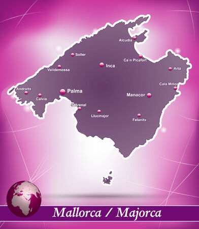 majorca: Map of mallorca with abstract background in violet