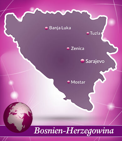 Map of Bosnia and Herzegovina with abstract background in violet