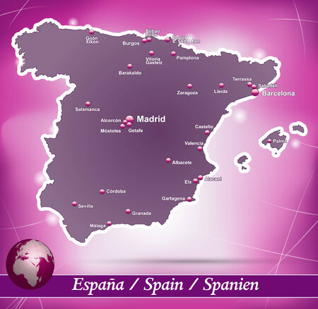 bilbao: Map of Spain with abstract background in violet