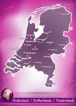 Kaart van Nederland met abstracte achtergrond in violet