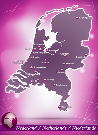 haarlem: Map of Netherlands with abstract background in violet