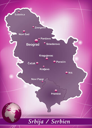 Map of Serbia with abstract background in violet Çizim