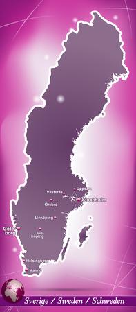 sverige: Map of Sweden with abstract background in violet Illustration