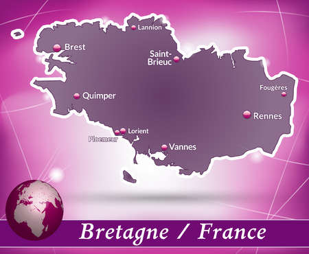 brittany: Map of Brittany with abstract background in violet