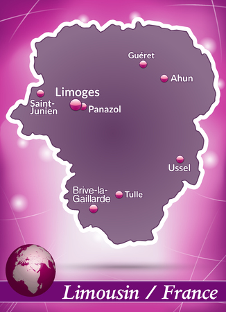 limousin: Map of limousin with abstract background in violet