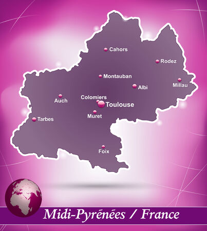 Map of Midi-Pyrenees with abstract background in violet Ilustrace