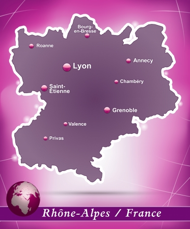Map of Rhone-Alpes with abstract background in violet