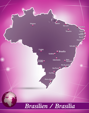 Map of Brazil with abstract background in violet
