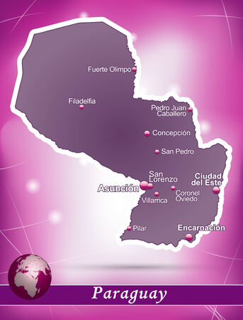 Map of Paraguay with abstract background in violet Ilustração
