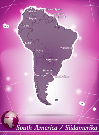 georgetown: Map of South America with abstract background in violet Illustration