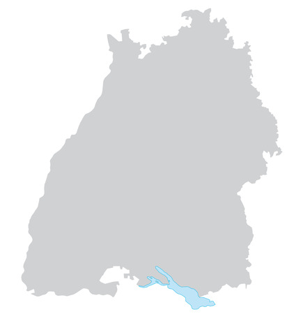 Map of Baden-Wuerttemberg with borders in gray Illustration
