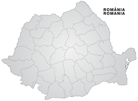 Map of Romania with borders in gray Illustration
