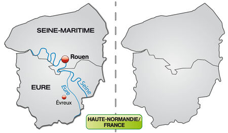 normandy: Map of Upper Normandy with borders in gray