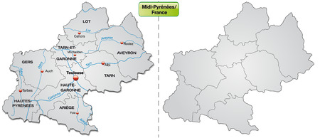 Map of Midi-Pyrenees with borders in gray