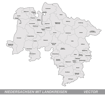 bremen: Map of Lower Saxony with borders in gray