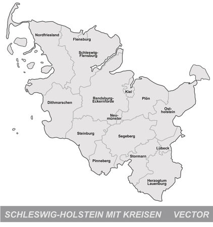 schleswig holstein: Map of Schleswig-Holstein with borders in gray