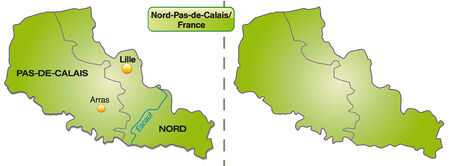 lille: Map of North-pas-de-calais with borders in green Illustration