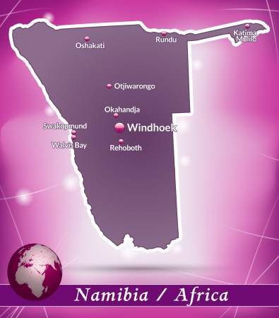 kalahari desert: Map of Namibia with abstract background in violet Illustration