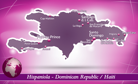 Map of hispaniola with abstract background in violet Vector
