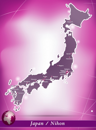 kobe: Map of Japan with abstract background in violet Illustration