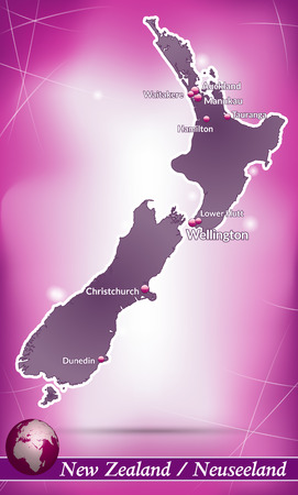 hamilton: Map of new zealand with abstract background in violet Illustration
