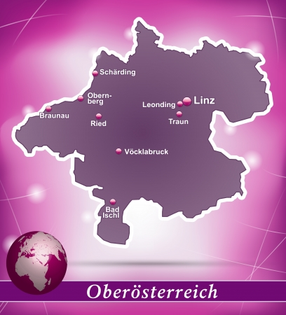Map of upper Austria with abstract background in violet Vector
