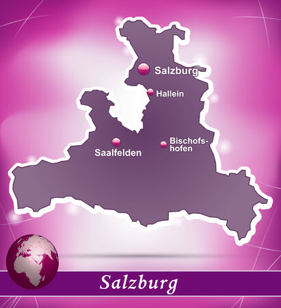 saalfelden: Map of salzburg with abstract background in violet Illustration