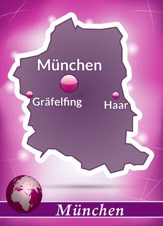 m�nchen: Kaart van München met abstracte achtergrond in violet