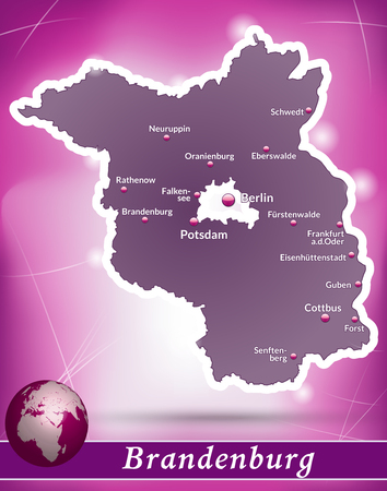 falkensee: Map of Brandenburg with abstract background in violet