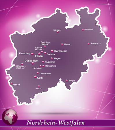 north rhine westphalia: Map of North Rhine-Westphalia with abstract background in violet