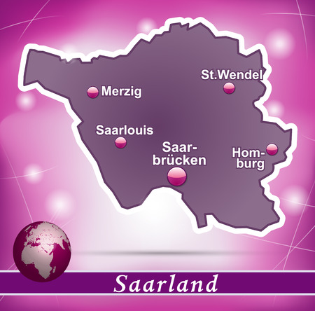 saarland: Map of Saarland with abstract background in violet