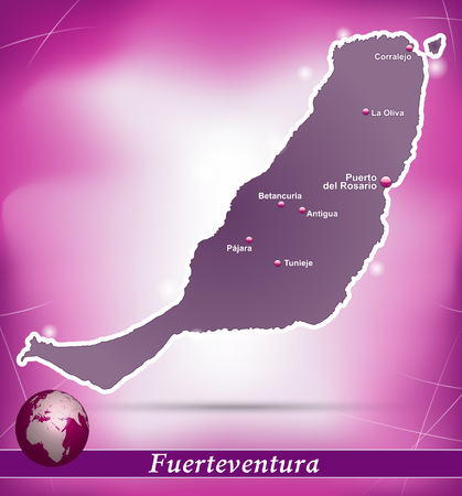antigua: Map of fuerteventura with abstract background in violet