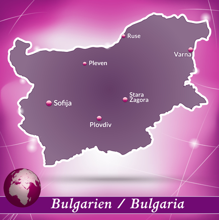 ruse: Map of Bulgaria with abstract background in violet