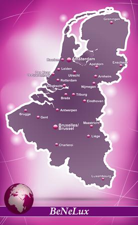 Kaart van de Benelux met abstracte achtergrond in violet