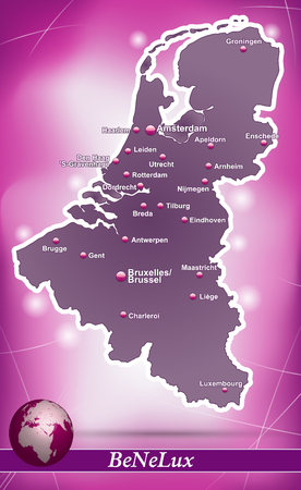 haarlem: Map of Benelux with abstract background in violet Illustration