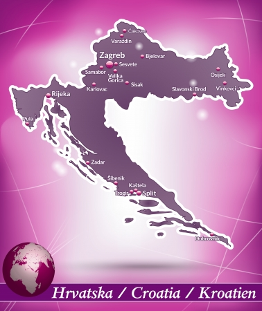 Map of Croatia with abstract background in violet Illustration