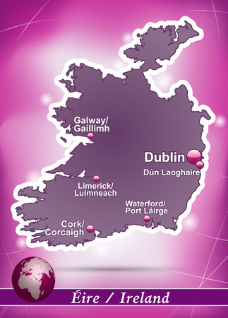 dun: Map of Ireland with abstract background in violet
