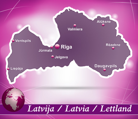 jurmala: Map of Latvia with abstract background in violet