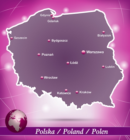 wroclaw: Map of Poland with abstract background in violet Illustration