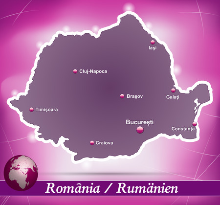 Map of Romania with abstract background in violet Illustration