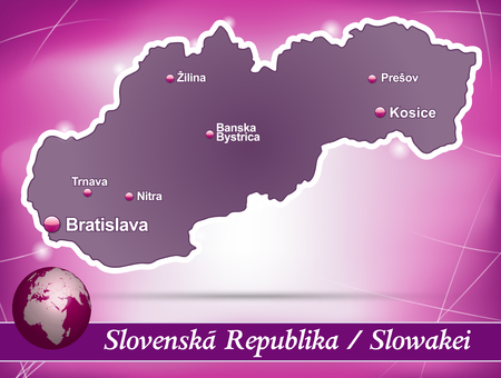 republika: Map of Slovakia with abstract background in violet