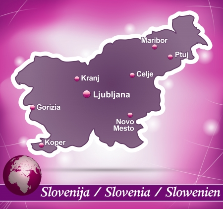 Map of Slovenia with abstract background in violet