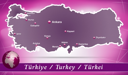 bursa: Map of Turkey with abstract background in violet
