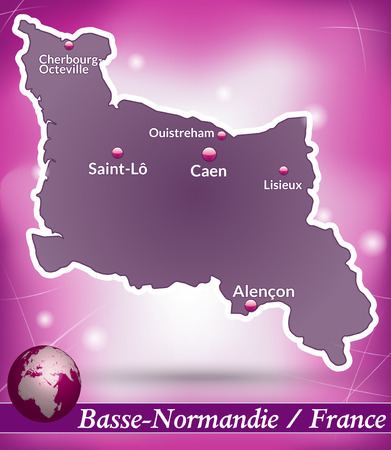 basse normandy: Map of Lower Normandy with abstract background in violet