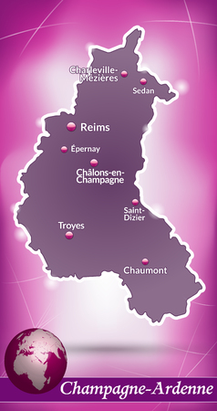 reims: Map of Champagne-Ardenne with abstract background in violet
