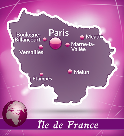 versailles   france: Map of Ile-de-France with abstract background in violet