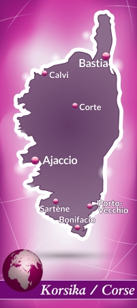 ajaccio: Map of corsica with abstract background in violet