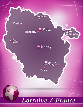 Map of lorraine with abstract background in violet